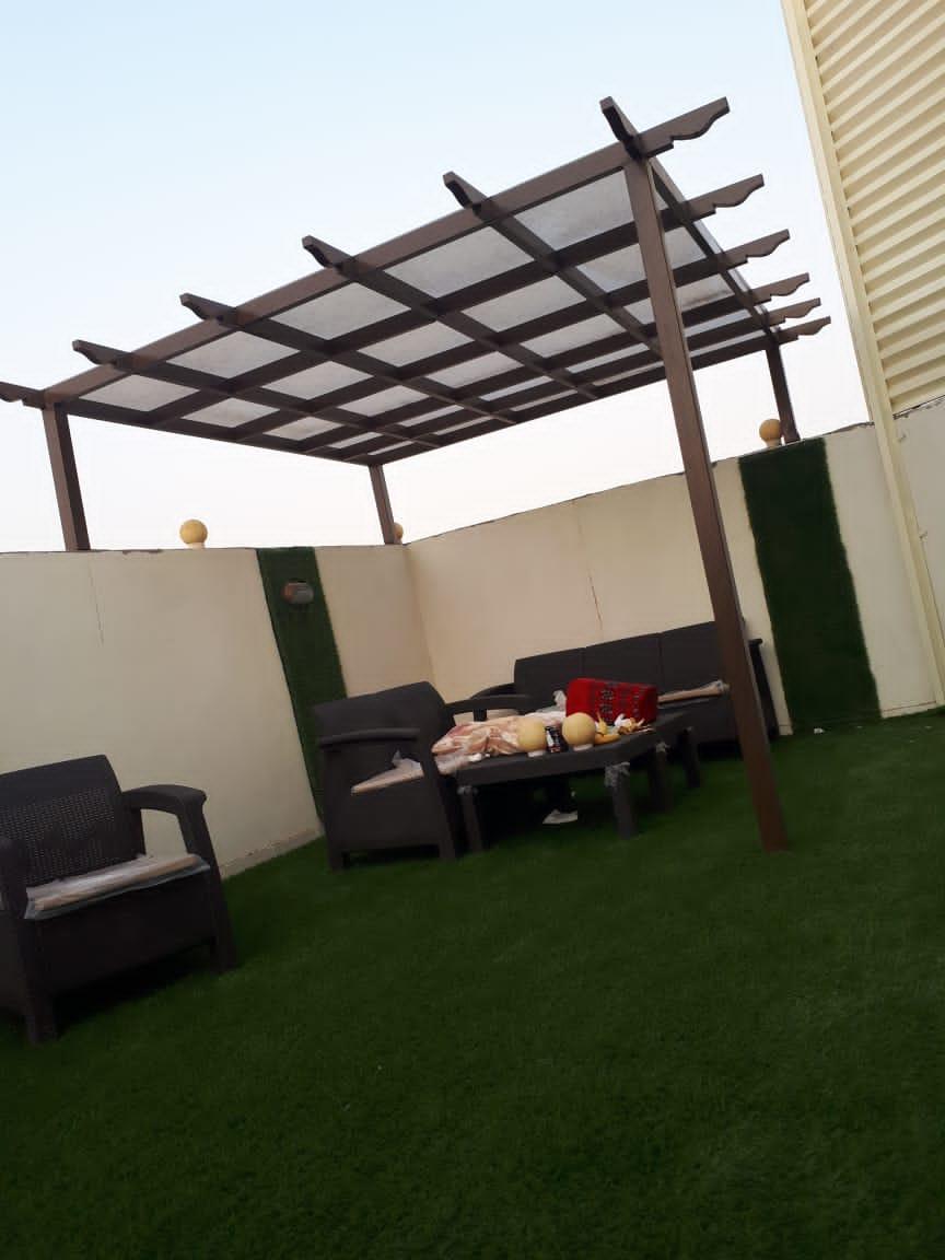 تركيب مظلات حدائق حديد وخشبي في مكة وجدة